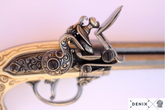1016g-b-denix-flintlock-pistol-with-3-barrels–italy-1680